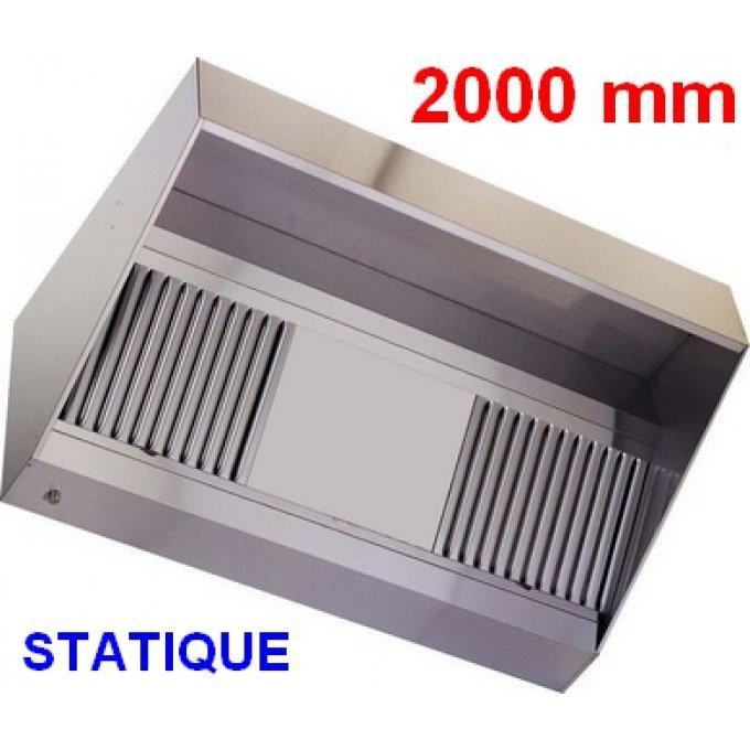 hotte professionnelle 2000 mm sans moteur  hottepro